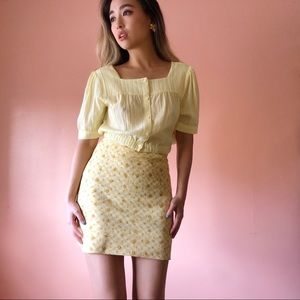 Vintage Yellow Floral Gingham Mini Skirt
